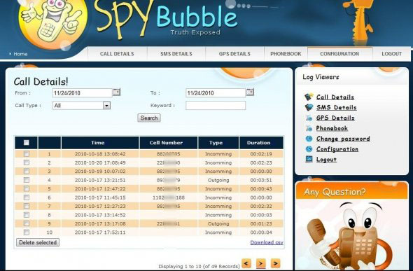 Spybubble Call Details